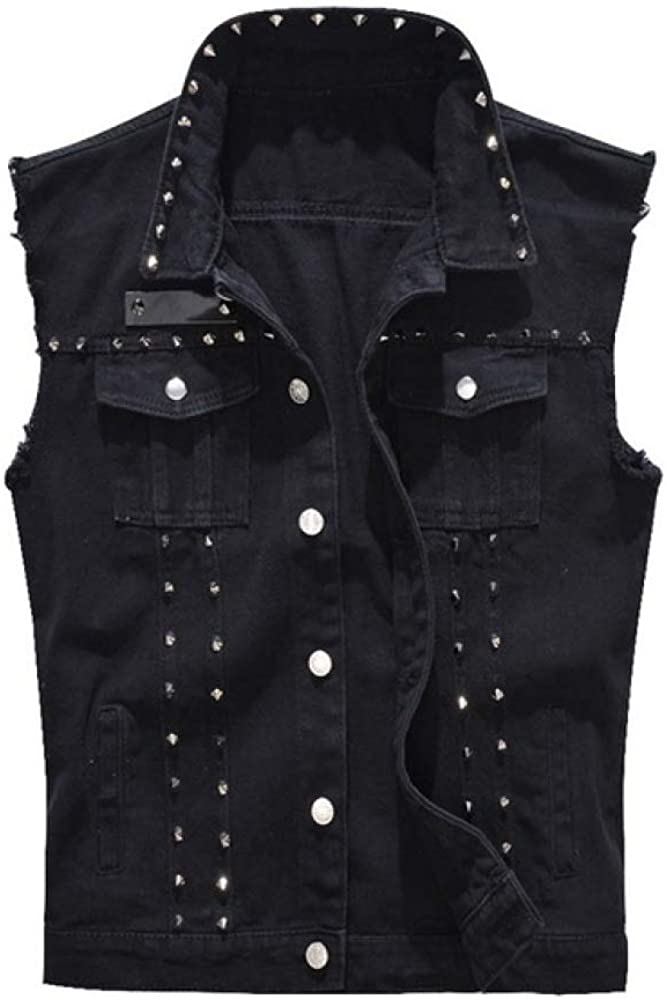 Loeay Uomo Moda Rock Rivetto Gilet di Jeans Classico Stile Punk Vintage Cowboy Jeans Neri Gilet Moto Giacca Senza Maniche Cappotto
