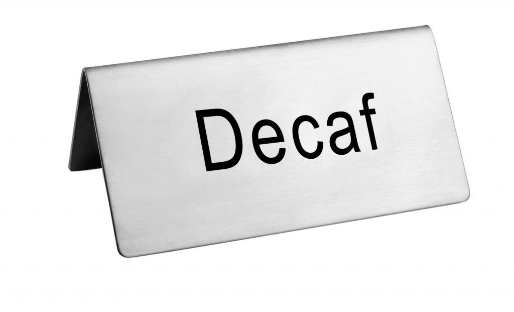 New Star Foodservice 27273 Stainless Steel Table Tent Sign, ''Decaf'', 3-Inch by 1-1/2-Inch, Set of 6