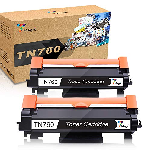 7Magic Compatible Toner Cartridge Replacement TN730 TN-760 for Brother DCP-L2550DW, HL-L2350DW, HL-L2370DW, HL-L2370DWXL, HL-LL2370DW, HL-L2370DWXL, HL-L2390DW, HL-L2395DW, MFC-L2710DW (Black, 2-Pack)