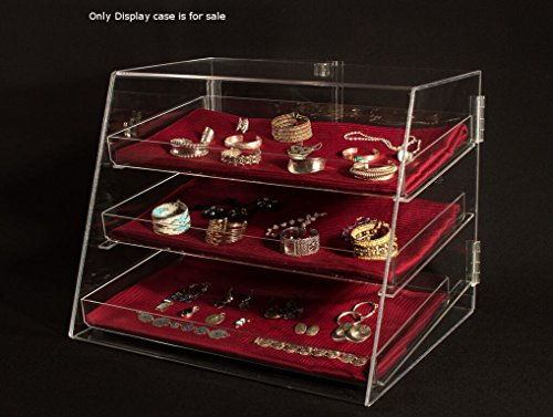 "3 Tier Acrylic Jewelry Crafts Display Case with Removable Trays, Size: 21""Wx17""Dx16.75""H"