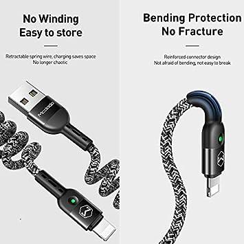 Mcdodo Cable USB el/ástico en Espiral Cable retr/áctil de sincronizaci/ón de Datos Cable de Carga y Carga para tel/éfono XR 8 7 Estirable a 5.9 pies Negro
