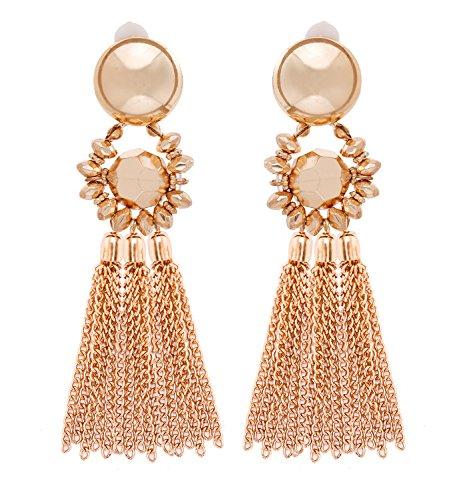 263a69542 Bohemian Tassel Chandelier Dangle Earring For Women Girl Piercing Earring  Clip On Earrings Long Drop Statement