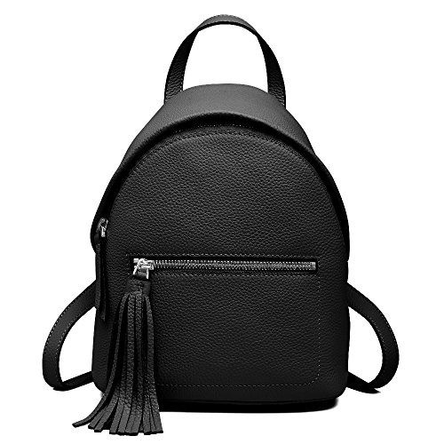 Mini Leather Backpack for Women, Cowhide Genuine Leather Top Handle Bags Double Shoulder Bag Drawstring School Backpack Lichee Pattern