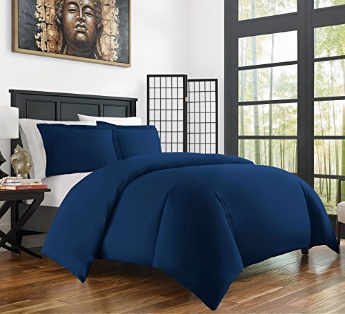 3 Piece King Bed (Zen Bamboo Ultra Soft 3-Piece Bamboo Derived Rayon Duvet Cover Set -Hypoallergenic and Wrinkle Resistant - King/Cal King - Navy Blue)