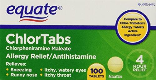 Equate: Chlortabs Tablets Antihistamine, 100 Ct (Chlor Tab)