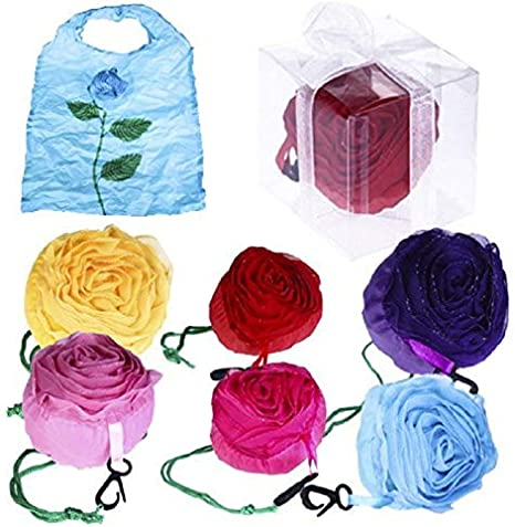 DISOK - Lote de 20 Bolsas Plegable Rosa con Cajita Y Lazo. Bolsas de la Compra Detalles Bodas, Bolsas Desechables Reutilizables de Tela