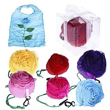 DISOK - Lote de 20 Bolsas Plegable Rosa con Cajita Y Lazo. Bolsas de la Compra Detalles Bodas, Bolsas Desechables Reutilizables de Tela: Amazon.es: Hogar