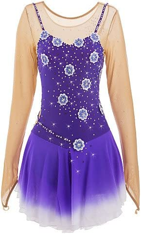 Skating Queen Figure Skating Dress for Girls Women Ice Skating Competition Performance Applique Rhinestone Handmade Professional Stretchy Skating Wear Long Sleeved Blue