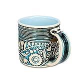 H-Line Handmade Unique 3D Ceramic Mugs, 14.5-Ounce - Blue