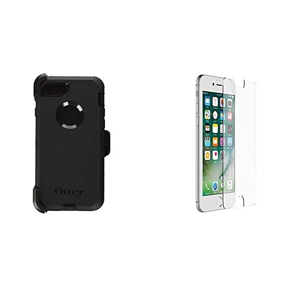 OtterBox Defender Series Case for iPhone 8 & iPhone 7 (NOT Plus) -  Frustration Free Packaging - Black & ALPHA GLASS SERIES Screen Protector  for iPhone