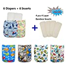 Babygoal Baby Reuseable Washable Pocket Cloth Diaper 6pcs+ 6 Inserts 6fb20