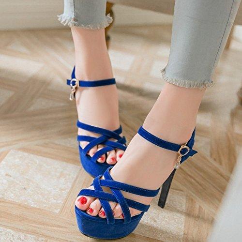 Talons Femmes Aiguille Blue Hauts Sandales Soiree Taoffen waqZw