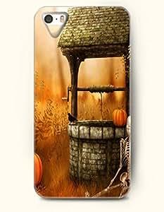 SevenArc iPhone 5 5s Case - Happy Halloween Skeleton Pumpkin And An Old Well