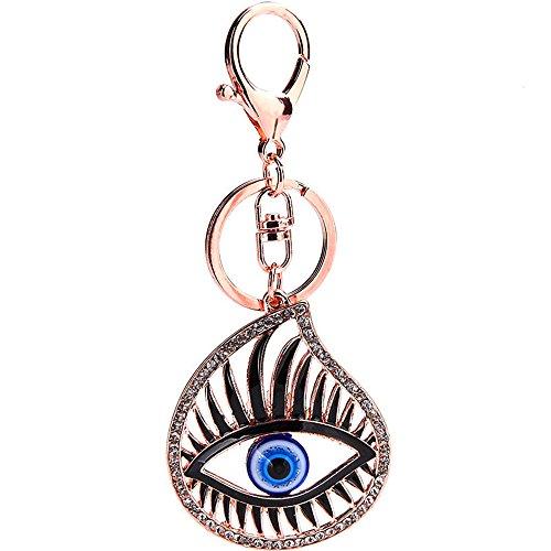 (JewelBeauty Evil Eye Hollow Eyelash Crystal Rhinestone Keychain Key Chain Sparkling Key Ring Charm Car Purse Pendant Handbag Bag Decoration)