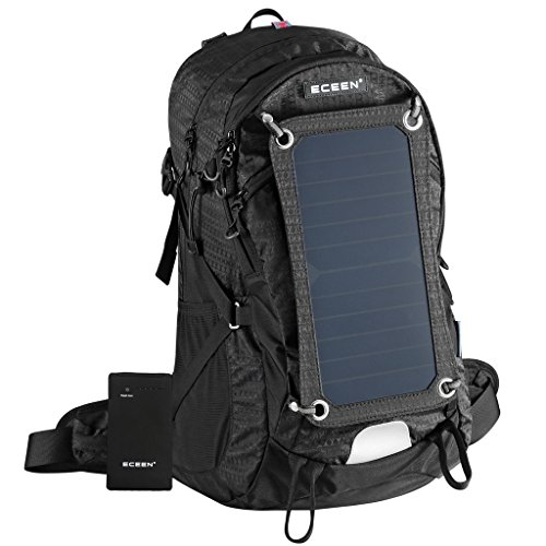 ECEEN External Frame Pack Hiking Camping Backpack 2L Hydration Bladder Solar Phone Charger 10000mAh Portable Battery Emergency Outdoor Sports Bag for IOS iPhone 7 6 6s plus Samsung Android Cell Phone