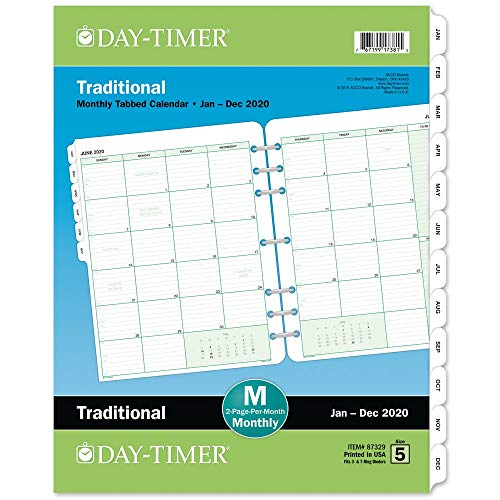 Day-Timer 2020 Monthly Planner Refill, Two Pages Per Month, 8-1/2