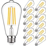 Vintage LED Edison Light Bulb, Equivalent 60 Watt, 6W ST58 Warm White 2700K, E26 Medium Base,High Brightness Antique LED Filament Bulbs, CRI 85+, Non-Dimmable, Clear Glass, Pack of 12