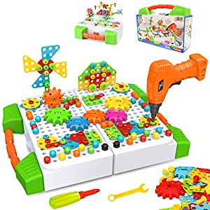 Best Epic Trends 51Kpt5DMJAL._SS300_ BeebeeRun 181 Pieces Electric DIY Drill Educational Set, Creative Building Games for Preschool Boys & Girls…