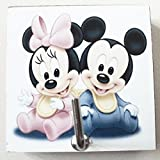 Agility Bathroom Wall Hanger Hat Bag Key Adhesive Wood Hook Vintage Mickey Mouse & Minnie Mouse Baby's Photo