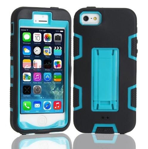iPhone 5 5S SE Shockproof Custodia,Heavy Duty Blu PU & PC Urti Assorbimento Case Robusto Back Paraurti Caso Armatura ibrida Kickstand Protettiva Case Shell Cover per iPhone 5 5S SE