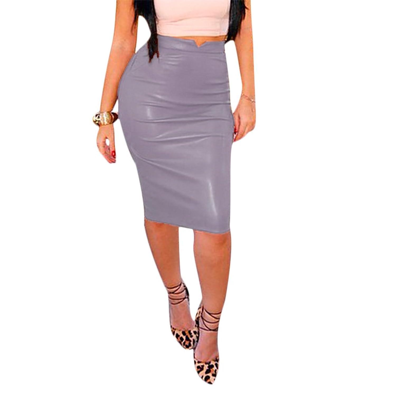 IyMoo Women Slim Fit Faux Leather Pencil Midi Skirt Fashion Sexy Bodycon