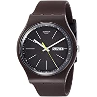 Swatch Originals Blue Browny Black Dial Silicone Strap Men's Watch SUOC704