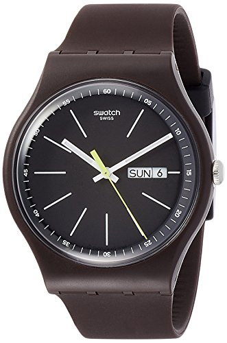 Mens Black Dial Strap Watch - Swatch Originals Blue Browny Black Dial Silicone Strap Men's Watch SUOC704