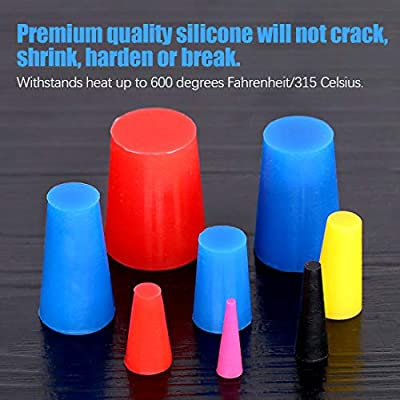 Glarks 100Pcs High Temp Silicone Rubber Tapered Plug Assortment Kit for Masking Off Holes During Powder Coating, Painting, Hydro Dipping, Media Blasting: Automotive