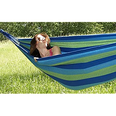Hammock Sky® Brazilian Hammock - Two Person Double for Backyard, Porch, Outdoor or Indoor Use - Portable for Camping - Soft Woven Cotton Bed for Supreme Comfort (Green & Blue Stripes)