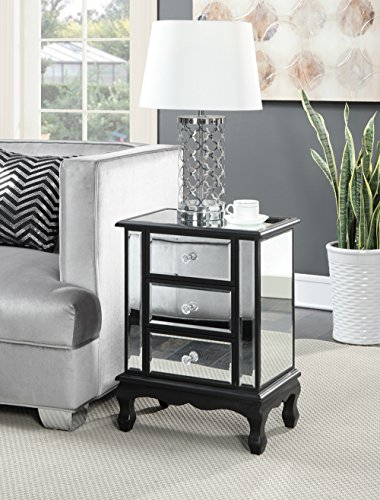 Price comparison product image Convenience Concepts Gold Coast Vineyard 3 Drawer Mirrored End Table, Black