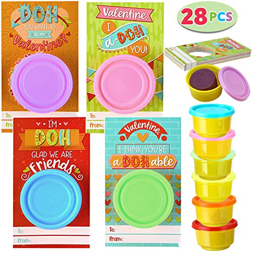 Cheapest Price! JOYIN 28 Pcs Valentines Day Gift Cards with Colorful Playing Dough for Kids Valentin...