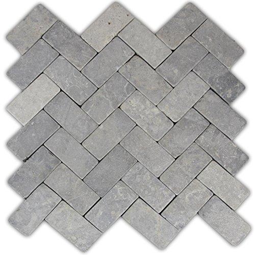 Light Grey Herringbone Stone Mosaic Tile 1 piece