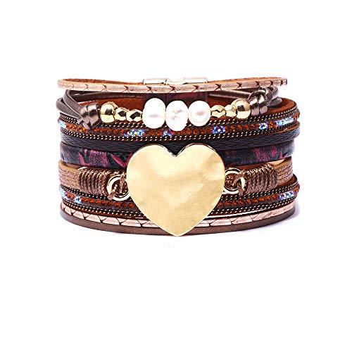 CHOA Multilayer Leather Bracelets for Women Pearl Heart Beads Wrap Bracelets Bohemian Jewelry (Dark Brown)