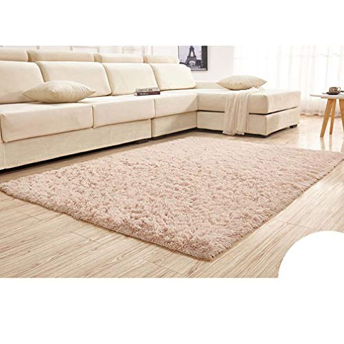 Solid Rectangular Area Rugs Soft Shag Living Room Children Bedroom Rug Anti-Slip Plush Carpets Home Decor Modern Indoor Outdoor Runners Nursery Khaki 6' X -