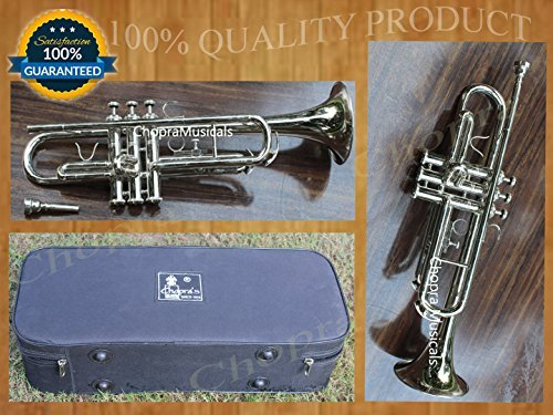TRUMPET Chopra Bb 3 Valve PRO SHINNING BRASS MARCHING CONCERT WITH MOUTH PIECE & HARD CASE FREE by Chopra (Image #1)