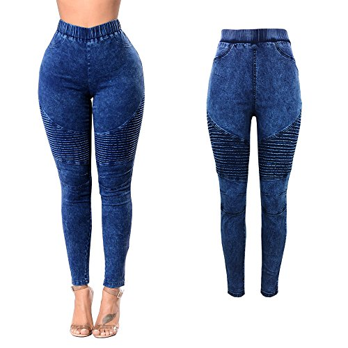 Treggings Couleur junkai 4 Taille Pantalon Pantalons Bleu Couleurs D't Fonc avec Skinny Jeans Haute Jeans 2XL Push pour Pantalon Solide Femmes Leggings Poches S Up zAOzrwqfH