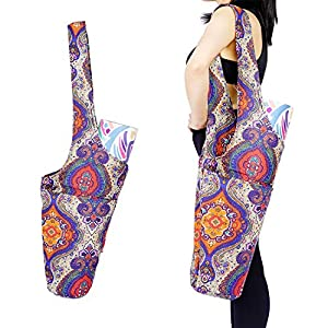 BenThai Products BTP Handmade Yoga Mat Bag Totes Sling Bags Zipper Cotton Lining Ethnic Thai Adjustable Strap