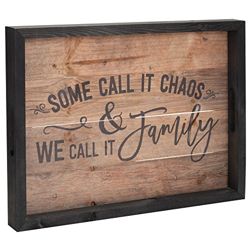 Chaos Call it Family Rustic 18 x 21 Inch Wood Pallet Serving Tray with Cutout Handles
