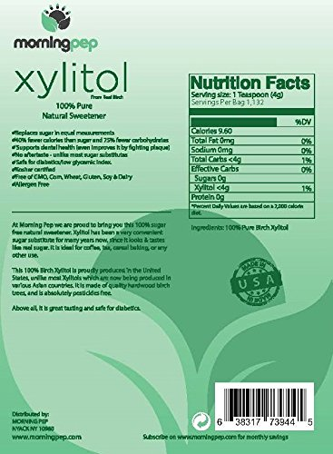 Morning Pep Pure Birch Xylitol (Keto Diet Friendly) Sweetener Bulk Size 10 LB (Not from Corn) Non GMO - Kosher - Gluten Free - Product of USA. 160 OZ by Morning Pep (Image #2)