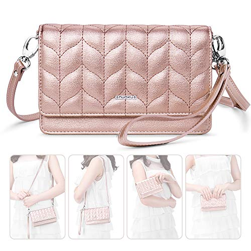 (nuoku Women Small Crossbody Bag Cellphone Purse Wallet with RFID Card Slots 2 Strap Wristlet(Max 6.5'') ... (Pink1))