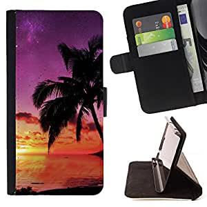 Jordan Colourful Shop - Sunset coconut Beautiful Nature 121 For Samsung Galaxy S6 - Leather Case Absorci???¡¯???€????€????????&