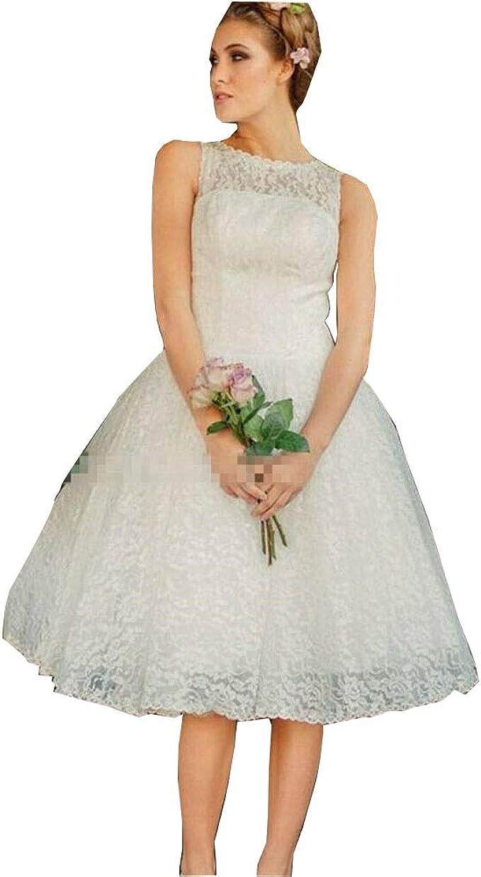 Hochzeitskleid Damen Kurz Weiß Vintage Spitze Tüll A Linie