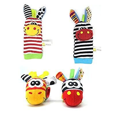 RMXZH Cute Animal Soft Baby Socks Toys Wrist Rattles and Foot Finders for Fun Reindeer Set 4PCS (1): Toys & Games