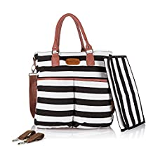 Designer Diaper Bag by DuraStyle™ - Bonus Stroller Straps and Baby Changing Mat - Black & White with Fashionable Black Trim (Large, Black/White)