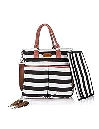 Designer Diaper Bag by DuraStyle™ - Bonus Stroller Straps and Baby Changing Mat - Black & White with Fashionable Black Trim (Large, Black/White)