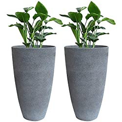 "Tall Planters Set 2 Flower Pots, 20"" Each, Patio Deck Indoor Outdoor Garden Resin Planters, Gray"