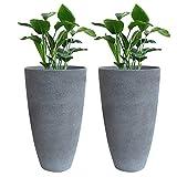 Tall Planters Set 2 Flower Pots, 20'' Each, Patio Deck Indoor Outdoor Garden Resin Planters, Gray