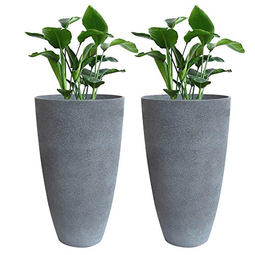 """Tall Planters Set 2 Flower Pots, 20"""" Each, Patio Deck Indoor Outdoor Garden Resin Planters, Gray"""