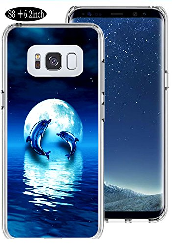 Moon Dolphins (S8 Plus Case Dolphin,Ecute Soft Slim Flexible Clear Rubber Side + Style Hard Back Case for Samsung Galaxy S8 Plus/S8+ (2017) - Dolphin and Moon)