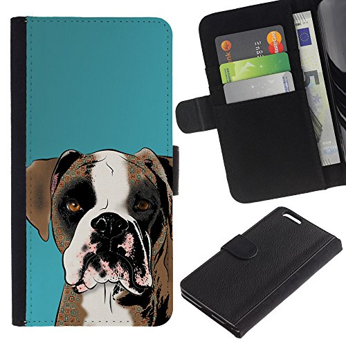 EuroCase - Apple Iphone 6 PLUS 5.5 - boxer art drawing dog brown white - Cuero PU Delgado caso cubierta Shell Armor Funda Case Cover